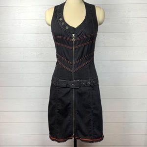 DIESEL Edgy Mini Short Charcoal Black Dress Belt M